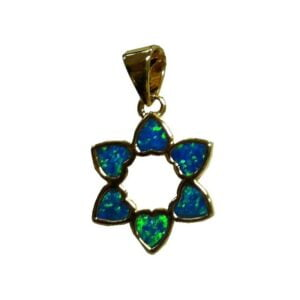 Star Of David Pendant With Black Doublet Opal Gold Micron Plated