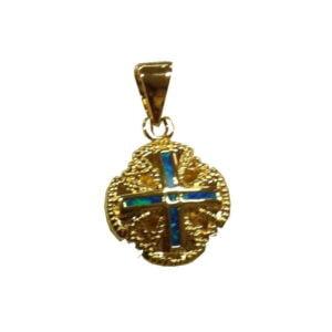 Jerusalem Cross Pendant Premium Semi-Black Opal Doublet 18k Carat Micron Gold Plating