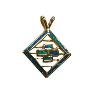 Cross Pendant With Black Doublet Opal Gold Micron Plated