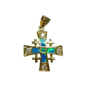 Jerusalem Cross Pendant Semi-Black Opal Doublet Micron Gold Plated