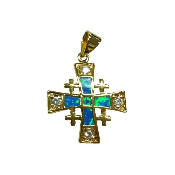 Jerusalem Cross Pendant Semi-Black Opal Doublet Micron Gold Plated