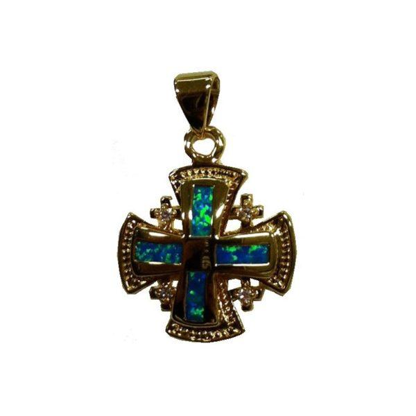 Jerusalem Cross Semi-Black Opal Doublet Micron Gold Plated