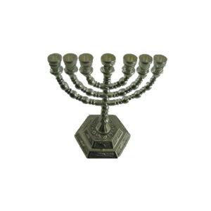 Menorah 12 tribes on base Holy Land Jerusalem Hebrew 6.5″ MSP05