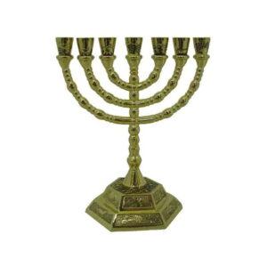 Menorah 12 tribes on base Holy Land Jerusalem Hebrew 8″ MSP06