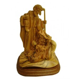 Olive Wood Holy Family Figurine 8 Inches