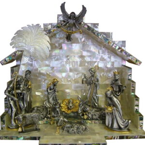 Nativity set pewter 24K Plated Mother of Pearl Crib