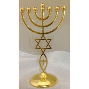Menorah With Star Of David & Fish Gold Color