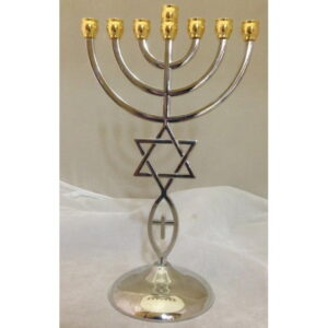 Menorah With Star Of David & Fish Silver & Gold Color