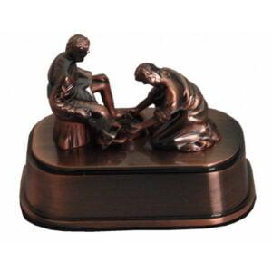 Metal Jesus Washing Feet in Antique Copper Finishing L TJ10010