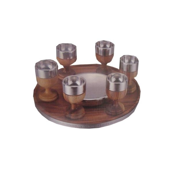 Communion Cup Set Acacia Wood & Stainless Steel