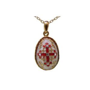 Jerusalem Cross(Byzantine) Pendant Faberge Style Enamel Gold Plated