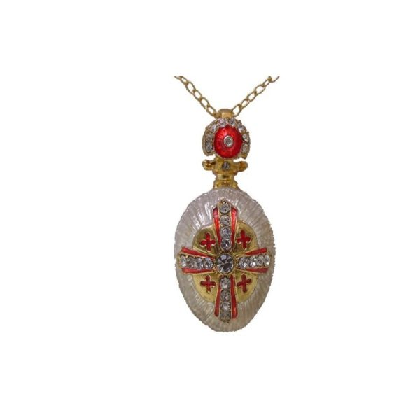 Jerusalem Cross Pendant Faberge Style Enamel Gold Plated