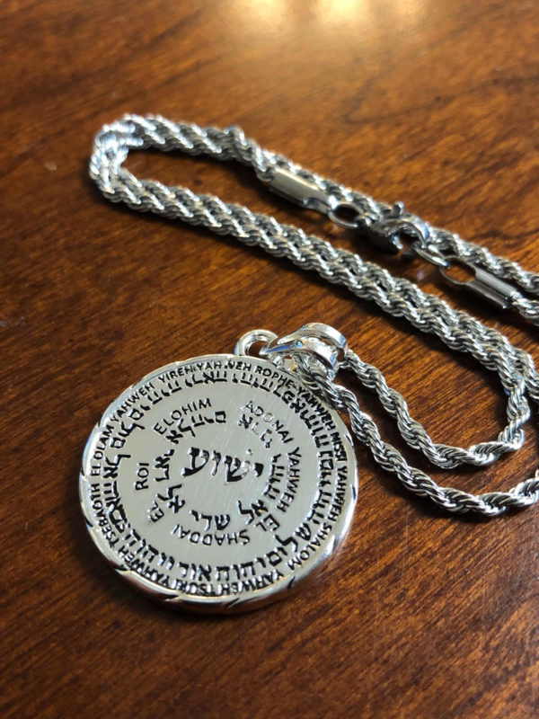 Silver plated Medallion Names Of God with Chain