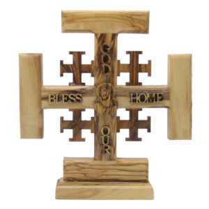 Olive Wood Jerusalem Cross – God Bless Our Home