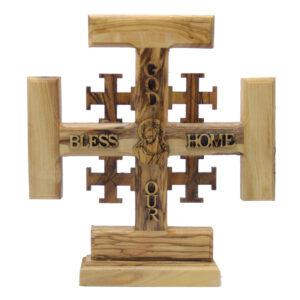 Olive Wood Jerusalem Cross – God Bless Our Home