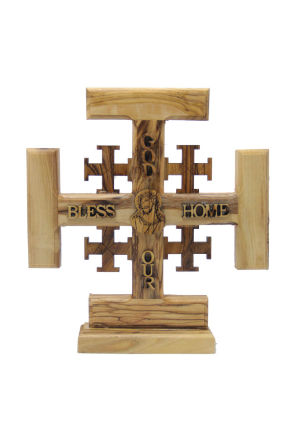 Olive Wood Jerusalem Cross With God Bless Our Home